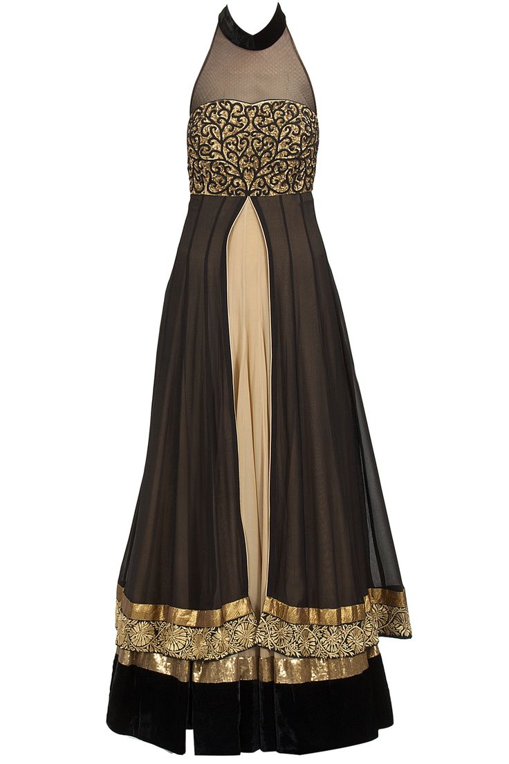 Beige and black double layer embroidered anarkali set