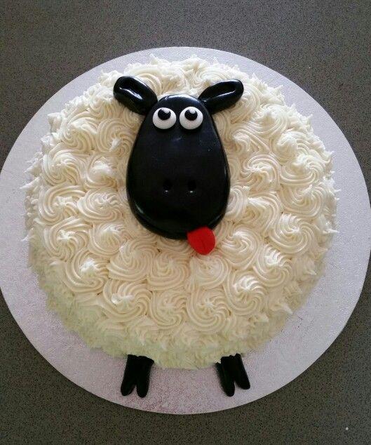 Gemma's 2nd birthday sheep cake - chocolate cake with vanilla buttercream icing and black fondant