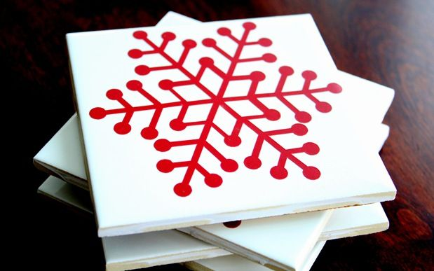 DIY coasters...im sure you can use any other kind of flat paper/material to decorate your coasters with