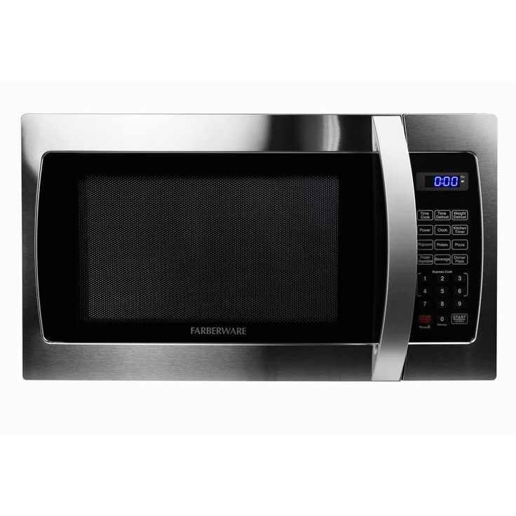 Farberware Pro 1.3 cu. ft. 1000-Watt Microwave Oven in Stainless Steel (Silver)/Black