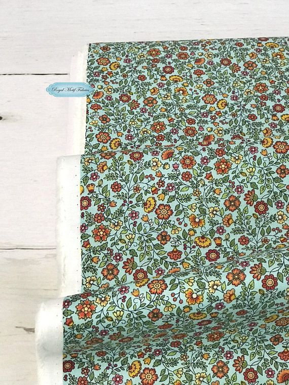 afaa2c4eadc19 Andover Fabrics - Bloom-Autumn Floral Scroll Teal -*Sold by 1/2 Yard ...