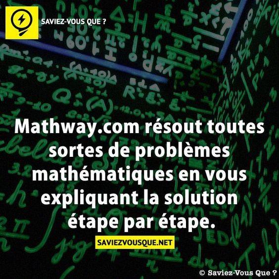 Mathway.com résout toutes sortes de problèmes mathématiques en vous expliquant la solution étape par étape.
