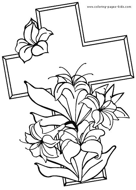 Cross with easter flowers color page Religious Easter color page, religious, religion coloring pages, color plate, coloring sheet,printable coloring picture