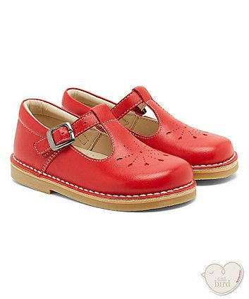 Little Bird by Jools Red Punch Out Leather Shoes