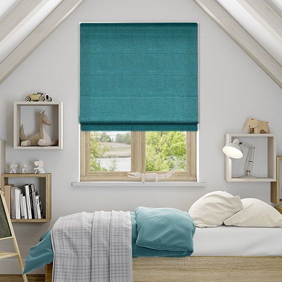 Spectrum Teal Roman Blind from Blinds 2go                                                                                                                                                                                 More
