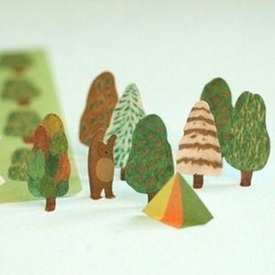 4 hojas/juego de Árboles Forestales y Diseño Del Oso Scrapbook Etiqueta Adhesiva Norwegian Wood Paper Diary Pegatinas de Decoración
