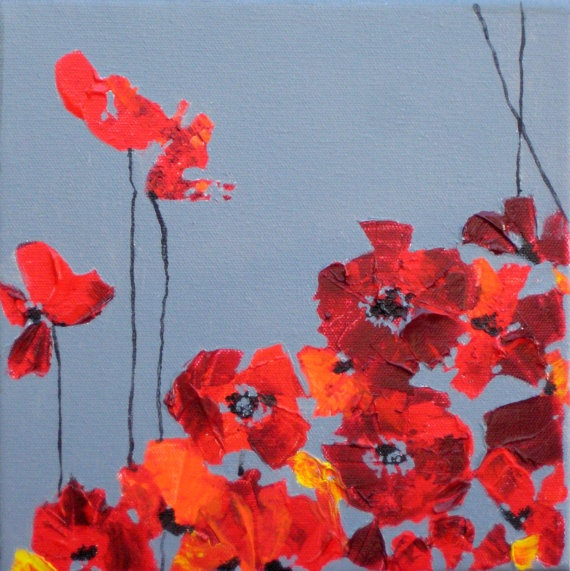 Red Poppy: Poppies Painting, Red Poppies, 8X8 Red, Ship, Art, Original, Paintings