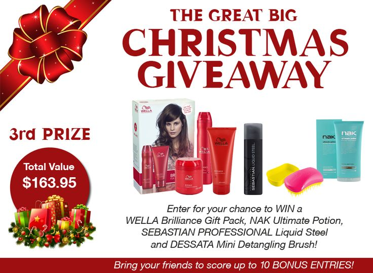 3rd Prize total value $163.95 and includes a WELLA Brilliance Gift Pack, nak Ultimate Potion, Sebastian Professional Liquid Steel and Dessata Mini Detangling Brush  Enter now: www.hair2go.com.au/giveaway