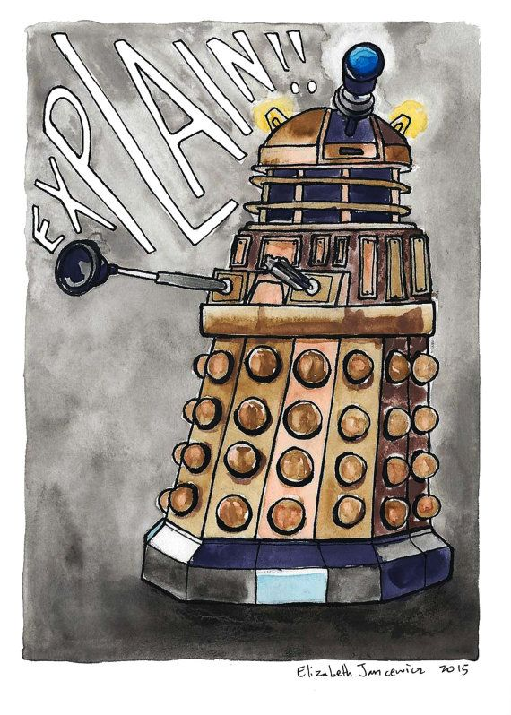 Dalek Watercolor Original Art by ElizabethJJancewicz on Etsy