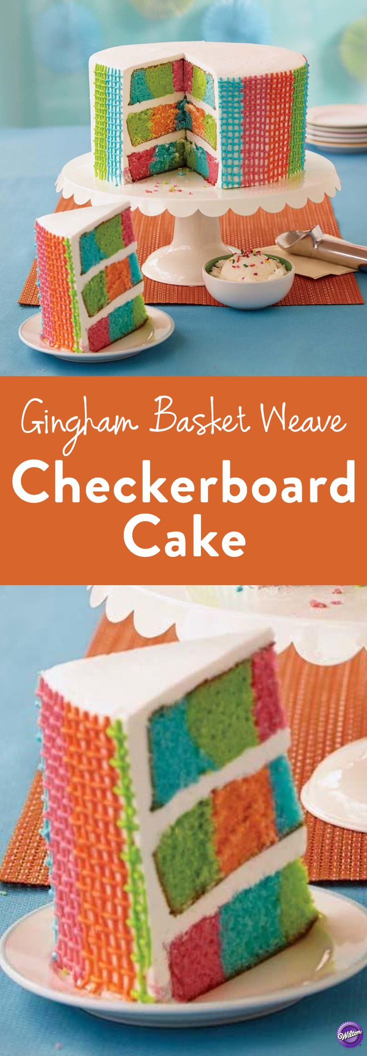Learn how to make this adorable gingham basket weave cake. The beautiful and bright colors in the gorgeous basket weave pattern makes this the perfect centerpiece for any a shower, children's birthday party or any other spring or summer celebration.