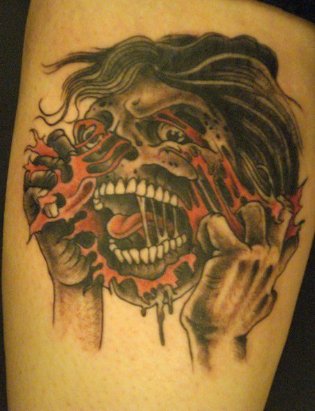 Cartoon zombie tattoo designs