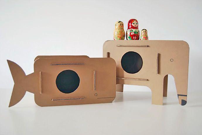 Cardboard side tables for kids by Popmecca