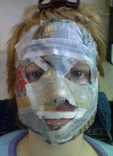 Paper Mache Mask. I remember making these in kindergarten sunday school and thinking it was fun.