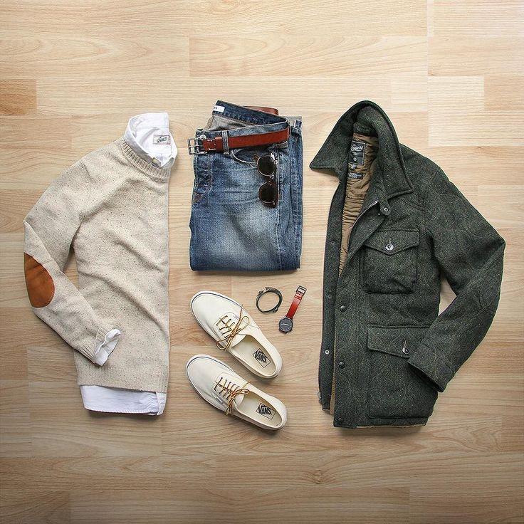 Half winter half spring. Things are getting confusing around here. Coat: @grayers Eliot quilted herringbone Denim: @baldwin selvedge Shoes: @vans for @jcrew Sweater: @hm Oxford: @grayers Watch/Bracelet: @miansai Belt: @jcrew by thepacman82