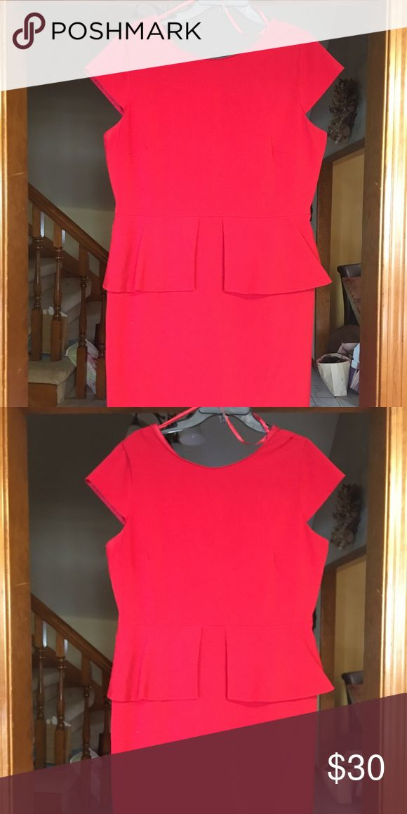 Red Peplum Dress Red peplum dress. Split peplum in front. Cap sleeves. Hits about at the knees. Gently worn, in great condition. Worthington Dresses Midi