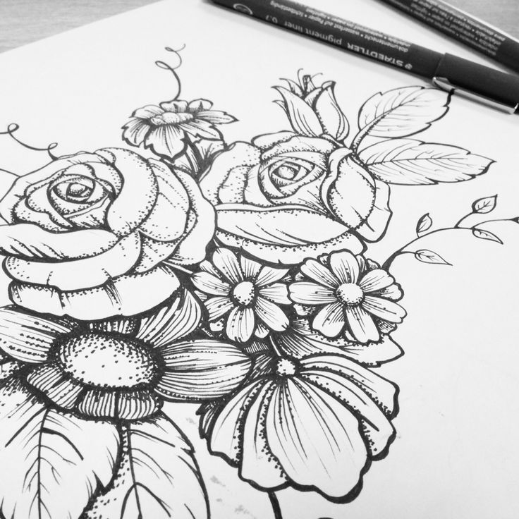 Bunch Of Flowers Drawing