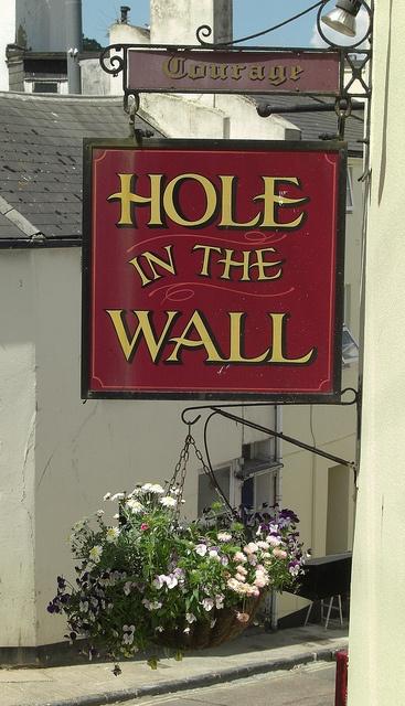 Torquay, England, United Kingdom - Pub sign Hole in the Wall