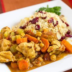 crock pot chicken tagine with coucous with cranberries and almonds