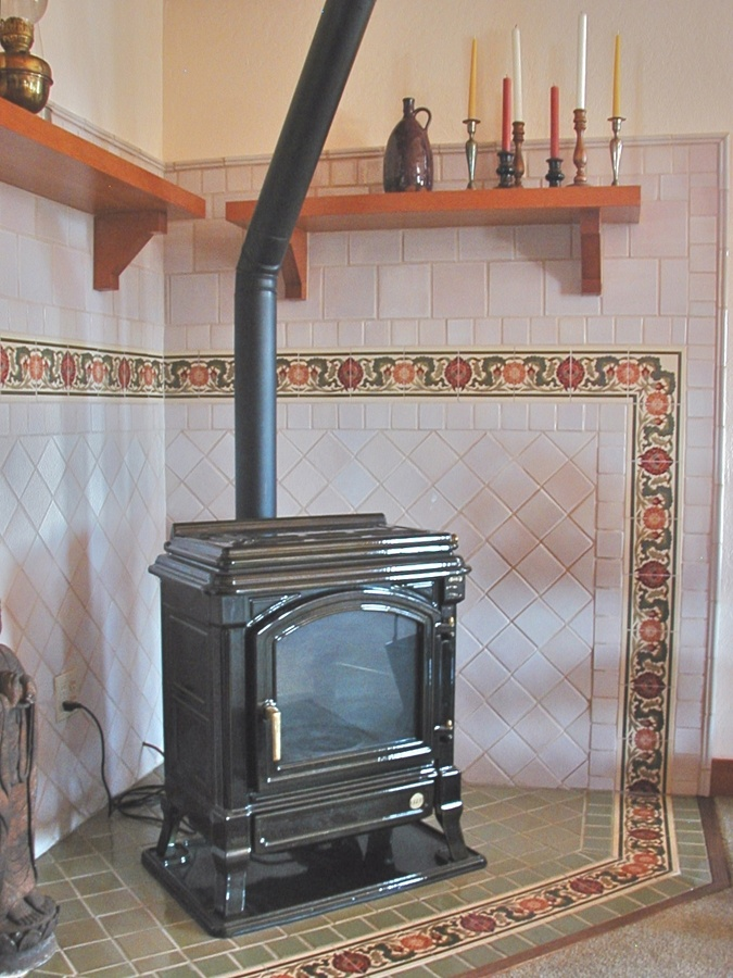 Wood Stove Surround Corner Tile