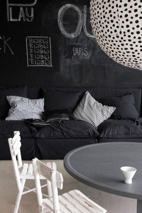 Polka Dots, Chalkboards Painting, Living Room Design, Interiors Design, Comfy Couch, Black White, Blackwhite, Chalkboards Wall, Black Wall