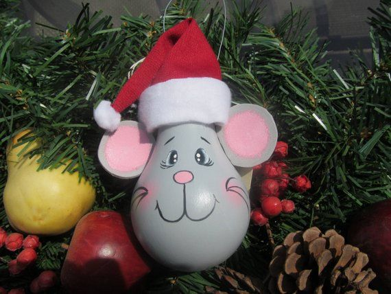 Christmas Mouse Ornament Hand Painted Christmas Mouse Ornament
