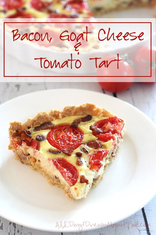 Low Carb Bacon, Goat Cheese & Tomato Tart - my new favourite recipe! This savoury tart is so flavourful and the almond flour crust is tender and delicious.