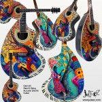 Giannini Craviola Acoustic Electric Guitar Steel 6 String Custom Painted