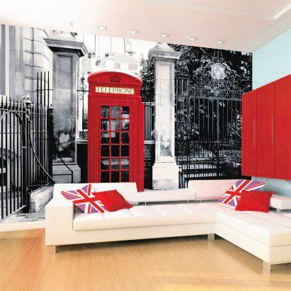 Classic #British Red Phone Box #Wallpaper Mural