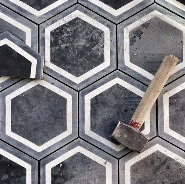 Black Concrete Hexagonal Tiles