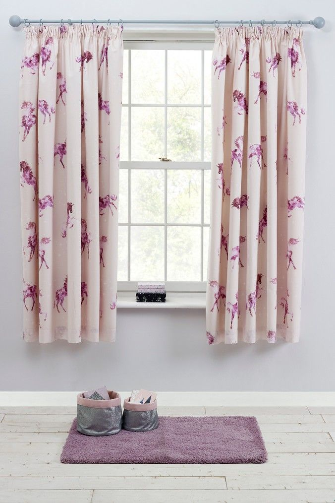 Next Magical Unicorn Blackout Pencil Pleat Curtains Purple Pleated Curtains Curtains Ready Made Curtains