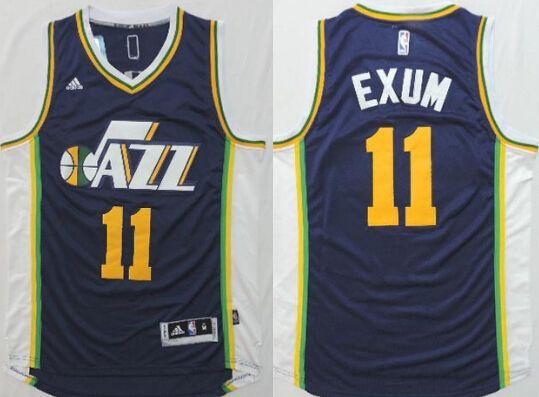 Utah Jazz #11 Dante Exum Revolution 30 Swingman 2014 New Navy Blue Jersey