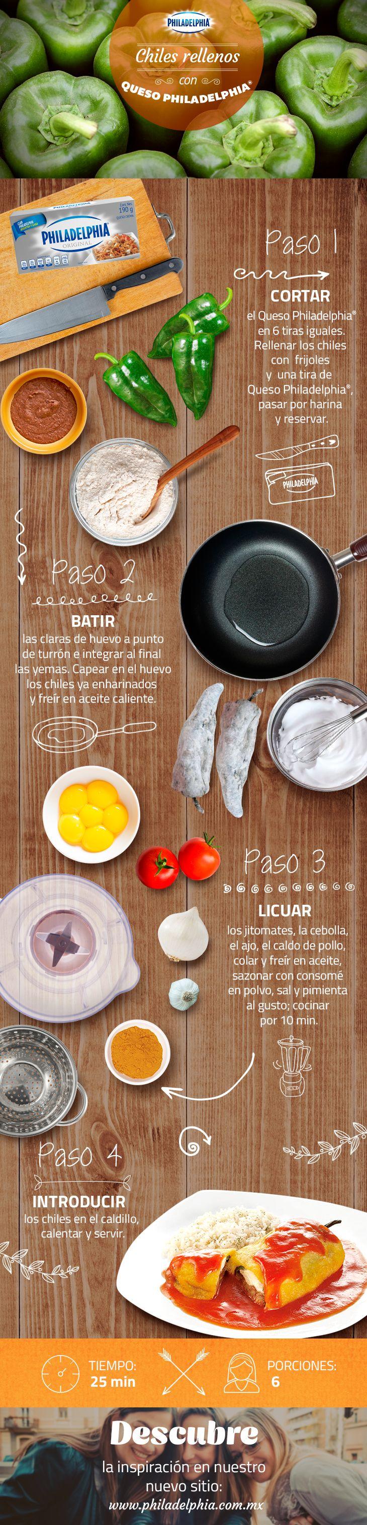 Prueba el inigualable sabor de estos Chiles rellenos con Queso Philadelphia®, te encantarán.