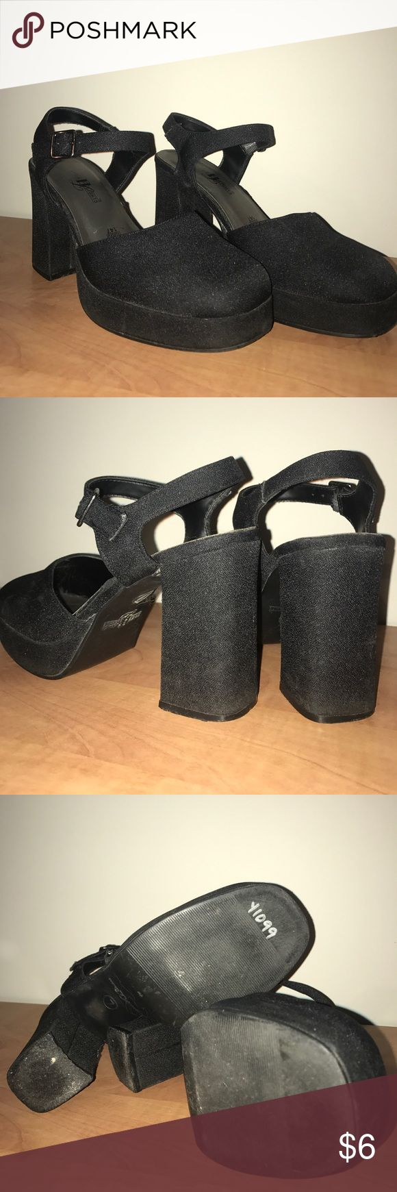 Super comfy, vintage ankle strap chunky heels! Extremely comfortable, broken in heels (just a tad too big for me). Pull off that 80's look you're going for--which is so hot and trendy right now. Thick heel makes them easy to walk in and the ankle strap keeps you secure. Black synthetic fabric makes them easy to clean! Win, win, win. High Lights Shoes Heels