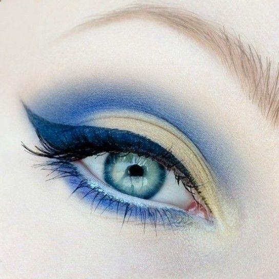 Trucco sfumato blu per occhi verdi