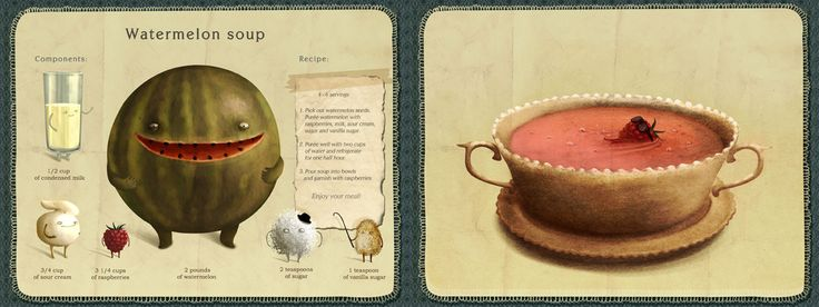 Watermelon Soup recipe, illustrated by Emilia Dziubak, from They Draw & Cook (very cool site!)
