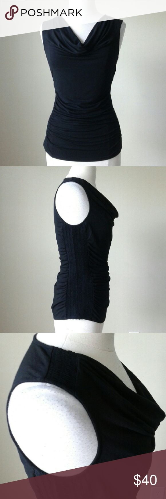 Sleeveless smocked drape neck shell top -Smocked sides and shoulders -Stretch fit -95% rayon, 5% spandex -Bust 38.5 inches, length 25.5 inches White House Black Market Tops Blouses