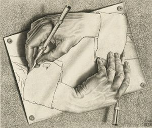 Drawing Hands, 1948 by Maurits Cornelis Escher