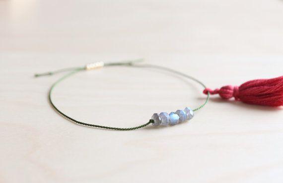 Labradorite silk thread bracelet / dainty by HandsLoveJewelry