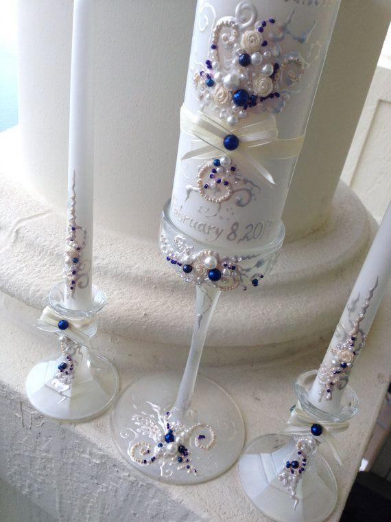 Beautiful wedding unity candle set  3 candles and by PureBeautyArt