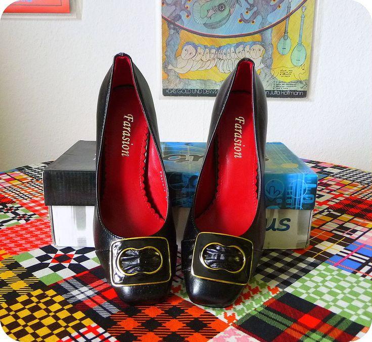 NEU FARASION Pumps 50er Style Mad Men Elegante Heels Schwarz Pin Up Sekretärin in Kleidung & Accessoires, Damenschuhe, Pumps   eBay!