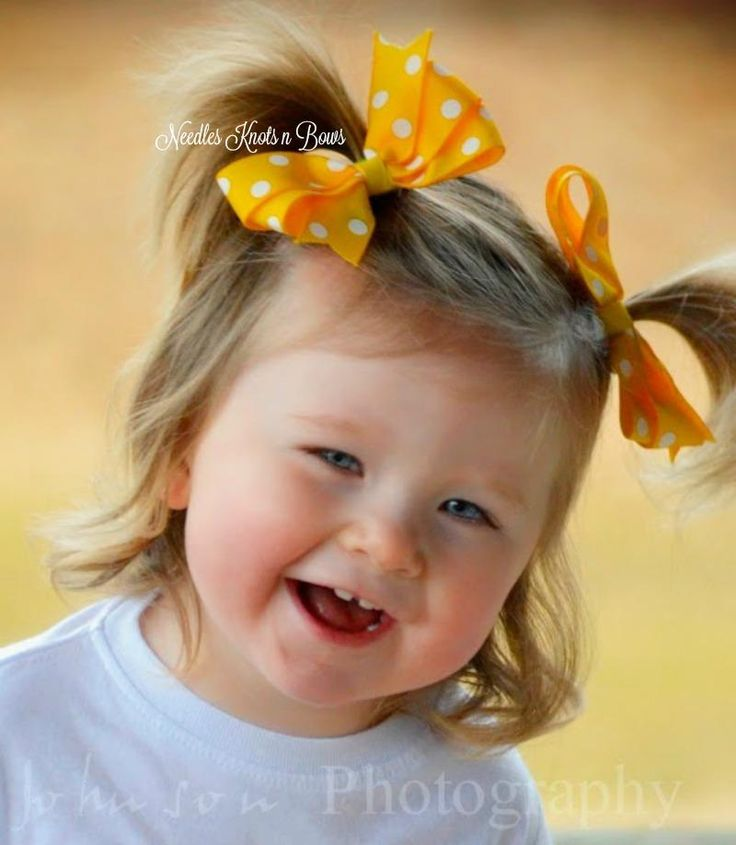 Girls Yellow Polka Dot Ribbon Hairbows, Pigtail Set, Yellow Hairbows, Baby Girls, Girls Hair Accessories