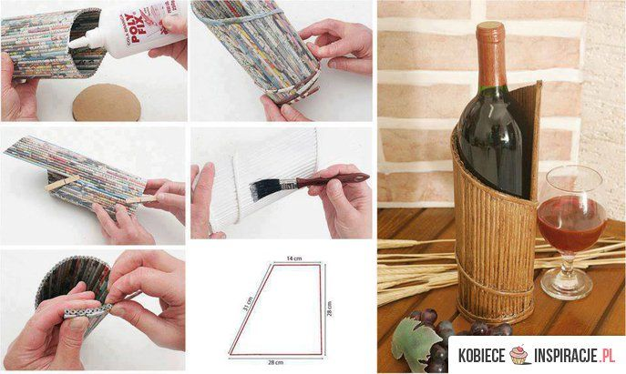 stojak na wino: Magazine, Paper Decor, Portabotella, Paper, Diy Ideas1, Wine Holders, Porta Vino, Porta Botellas, Bottle Holders