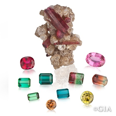 """Tourmaline's name comes from the Sinhalese word turmali, which means """"mixed,"""" and this gemstone lives up to its name. Tourmaline comes in more combinations of colors than any other gemstone variety found in nature. #GIABirtstones (1/22/13)"""