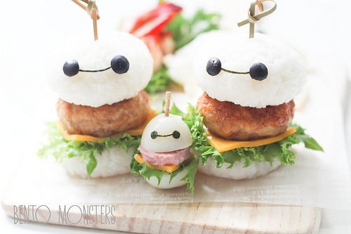 Big Hero 6   Baymax  Burger Bento. Kawaii food art