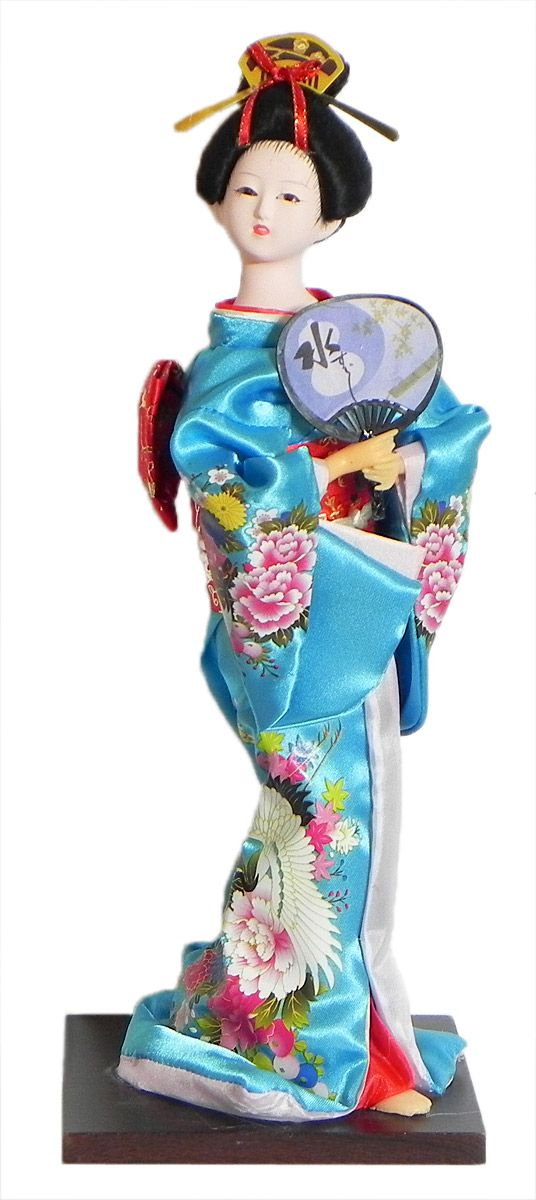 Japanese Geisha Doll in Printed Cyan Blue Kimono Dress Holding Fan (Cloth, Clay, Plastic and Thermocol)