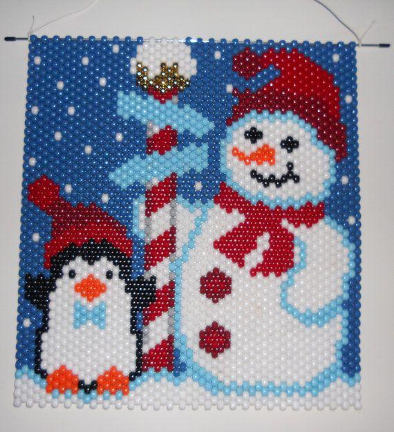 Handmade Hand Beaded Christmas North Pole Pals, Snowman, Penguin  Beaded Banner with Nylon Cord Hanger