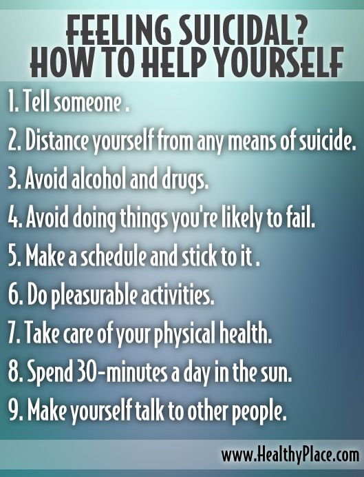 Re-pinned from 'Mental Health Experiences' here on Pinterest.  Read more at the link below on how to help yourself if you are feeling suicidal.    http://www.healthyplace.com/depression/articles/feeling-suicidal-how-to-help-yourself/