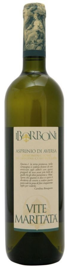 """ASPRINIO OF AVERSA D.O.C. WHITE #WINE VITE MARITATA - I BORBONI  Wine produced with one of the oldest grapes of Campania: Asprinio. Already known in Roman times, it was then rediscovered and revalued by I Borboni winery and is characterized by the typical cultivation called """"married vine"""" from which this wine gets its name."""