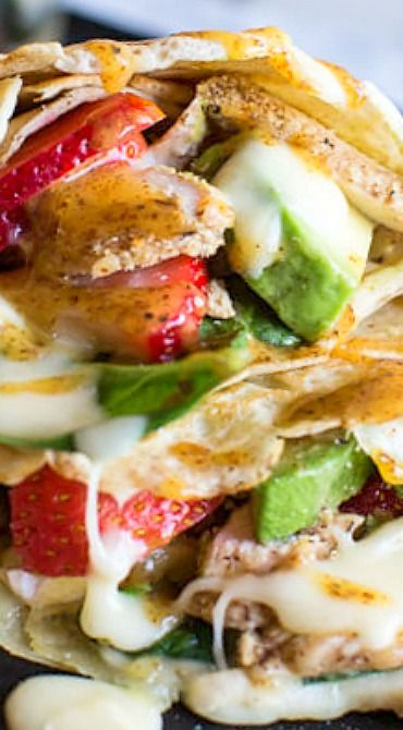 Honey Mustard Pretzel Crusted Chicken and Brie Crepes with Strawberry Basil Salsa