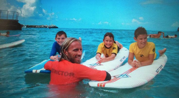 Aleandro with three students #Surf #Levanto